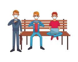 jonge mannen die medische maskers dragen die technologie gebruiken