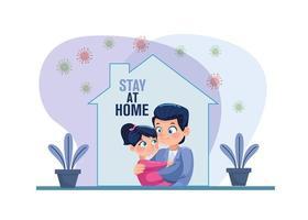vader en dochter blijven thuis en covid19