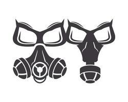 paar bioveiligheid gasmaskers pictogrammen vector
