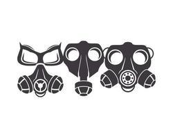 drie pictogrammen voor bioveiligheidsgasmaskers