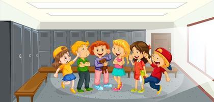 gelukkige kinderen praten op school