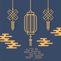 Aziatische compositie met lantaarns