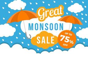 Gratis Monsoon Great Sale Template Poster Vector