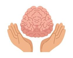handen die het menselijk brein, het pictogram van de geestelijke gezondheidszorg beschermen