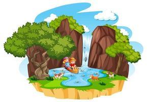 twee kinderen roeien de boot bij waterval