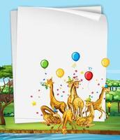 papieren sjabloon met schattige dieren in feestthema