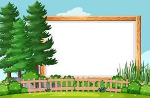 leeg houten frame in natuurtafereel