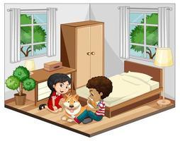 kinderen in de slaapkamerscène op witte achtergrond