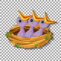 hongerig kuiken dat op voedsel in het nest wacht.