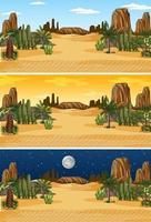 woestijn natuur landschapsscène op verschillende tijdstippen van de dag vector