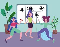 jonge vrouwen die thuis trainen