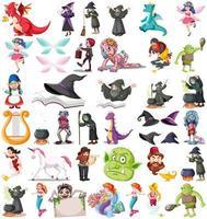set van verschillende sprookjesachtige stripfiguren
