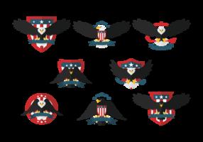 Eagle Seal vlakke pictogrammen vector