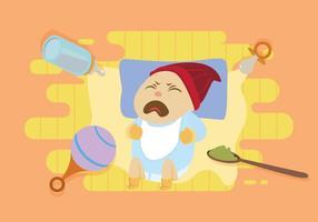 Gratis Schreeuwende Baby met blauw overhemd Illustratie vector