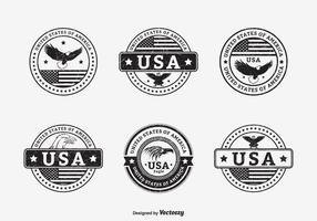 Black Grunge USA Seals Vector