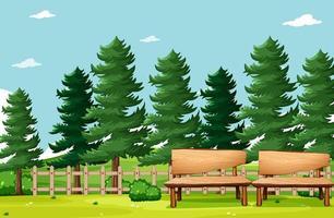 natuurpark met bankjes vector