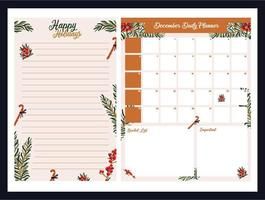 wekelijkse dagelijkse schattige kerstplanner