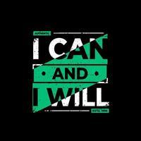 ik kan en ik zal een zwart t-shirt ontwerpen