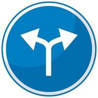 blauw verkeersbord geïsoleerd op een witte achtergrond
