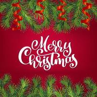 Kerstmisgreens in lintenkader vector