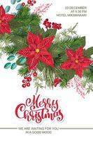 vrolijk kerstfeest uitnodiging met bloemen vector