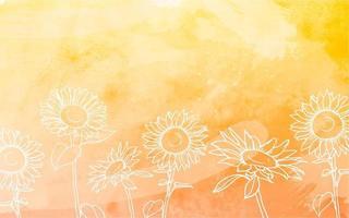 zonnebloemen met aquarel achtergrond