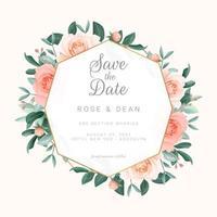 bloos roze rozen bewaar de datumuitnodiging