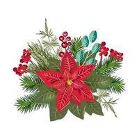 vrolijk kerstboeket ontwerpelement vector