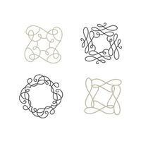 set van bloeien monoline art deco vector frame.