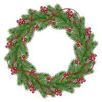 realistische kerstkrans met rode bessen vector