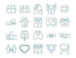 liefde en relatie ondersteuning icon set