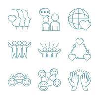 liefde en relatie ondersteuning icon set vector