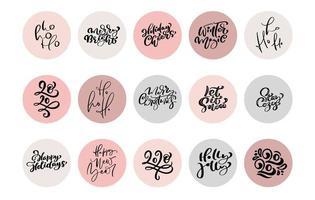 Kerstset van pictogrammen en emblemen met xmas zinnen