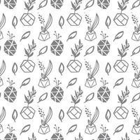 naadloze patroon met bladeren en succulente plantenpotten vector