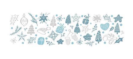 hand getekend vintage kerst elementen