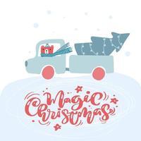 vrachtwagen in de wintersneeuw met beer en kerstboom vector
