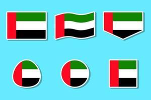 vlag sticker set van de verenigde arabische emiraten nationale feestdag