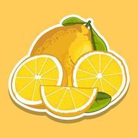 gele citroen en plakjes cartoon set vector