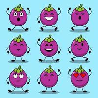 set van schattige cartoon poses van mangosteen karakters