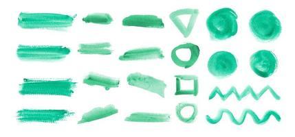 set groene penseelstreekelementen