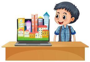 stedelijke stad op computerscherm
