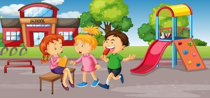 studenten op schoolplein