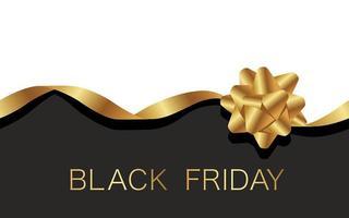 zwarte vrijdag verkoop ontwerp met gouden lint en boog vector