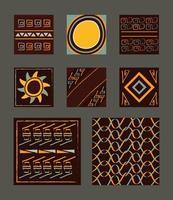 etnische ornament achtergrond tegel set