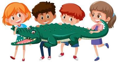 vier kinderen houden krokodil of alligator vast