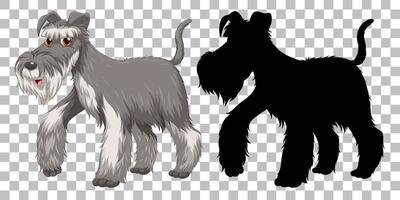 schattige draad fox terrier en silhouet