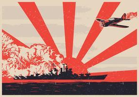 World War II Kamikaze Plane Vector