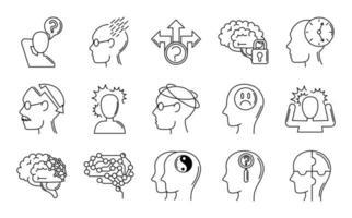 de ziekte van Alzheimer en dementie symptomen pictogramserie vector