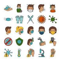 coronavirus en virale infectie icon set