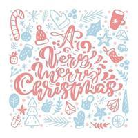 zeer vrolijke kerst kalligrafische letters